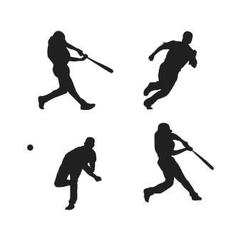 Collection de silhouettes de joueurs de baseball