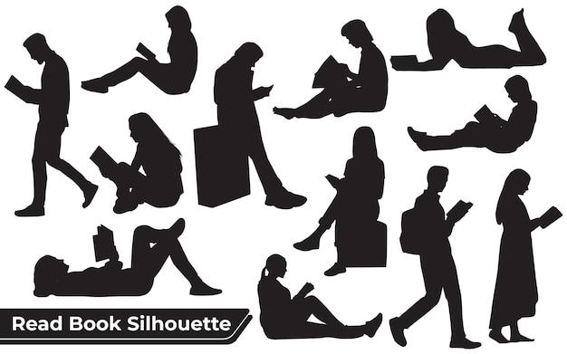 Collection de silhouettes de livres lus dans différentes poses