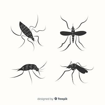 Collection de silhouettes de moustiques dans un style plat