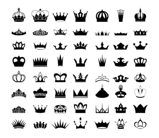 Collection de silhouettes noires de couronnes