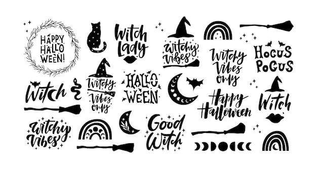 Collection de silhouettes noires d'halloween.