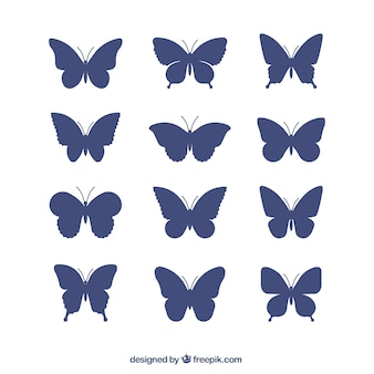 Collection des silhouettes de papillons