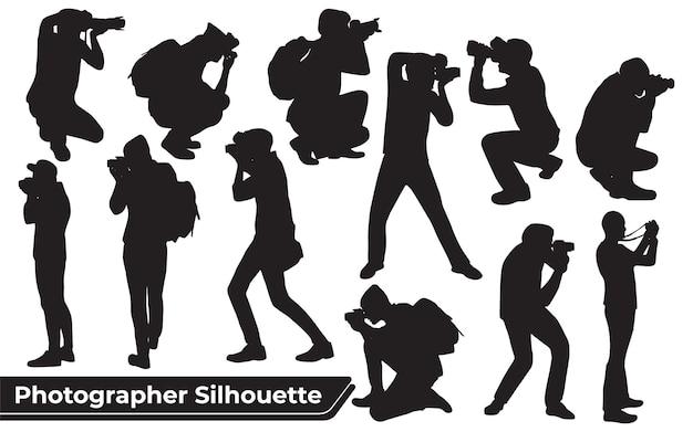 Collection de silhouettes de photographes dans différentes poses