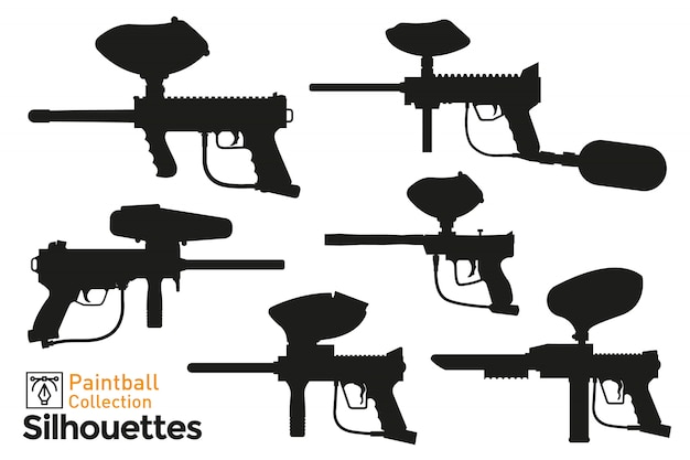 Collection de silhouettes de pistolet de paintball. ensemble d'icônes de pistolets isolés.