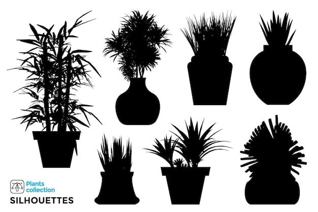 Collection de silhouettes de plantes et d'arbres isolés dans des pots de jardin