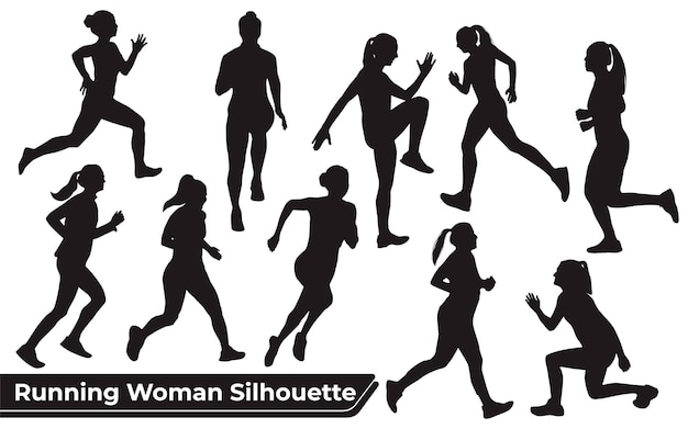 Collection de silhouettes running woman dans différentes poses
