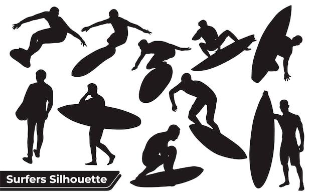 Collection de silhouettes de surfers sea dans différentes poses