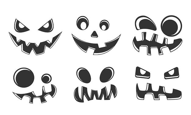 Collection de silhouettes de visages sculptés de citrouilles d'halloween
