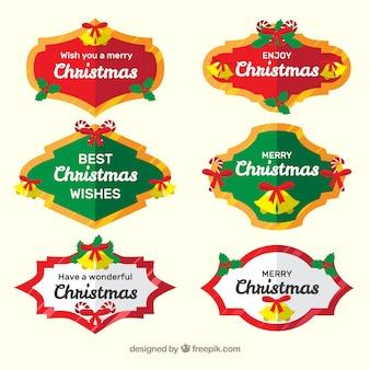 Collection de six badges de noël dans des couleurs vives