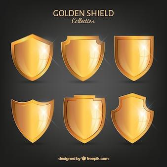 Collection de six boucliers d'or
