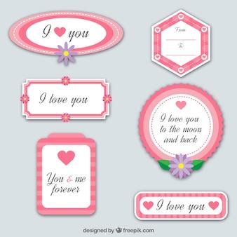 Collection de six cadres d'amour