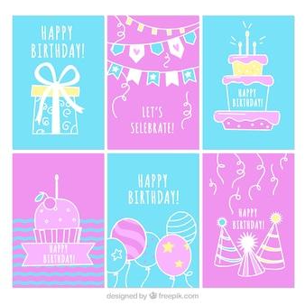 Collection de six cartes d'anniversaire dessinés à la main
