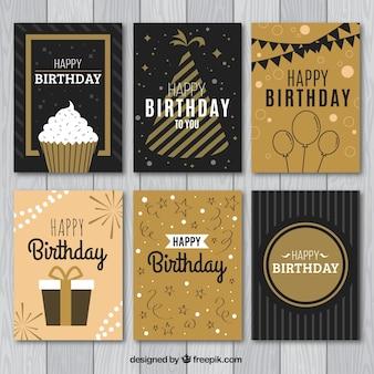 Collection de six cartes d'anniversaire vintage