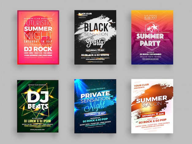 Collection de six flyers party d'été