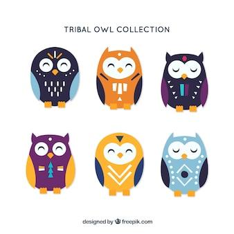 Collection de six hiboux