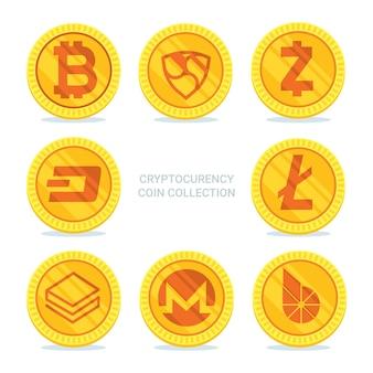 Collection de six pièces de monnaie cryptocurrency doré