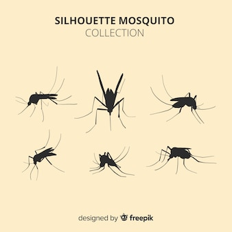 Collection de six silhouettes de moustiques