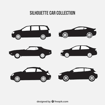 Collection de six silhouettes de voiture
