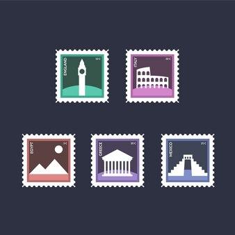 Collection de six timbres de voyage avec des monuments