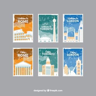 Collection de six timbres de voyage