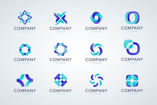 Collection De Slogans D'entreprise Bleue Vecteur gratuit