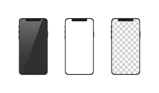 Collection de smartphone isolé sur blanc