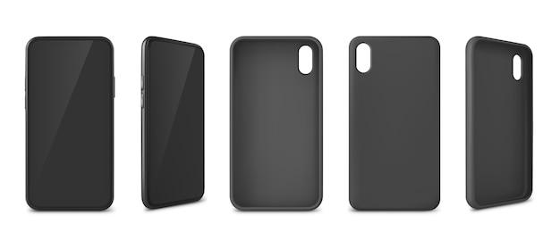 Collection de smartphones réalistes avec étuis