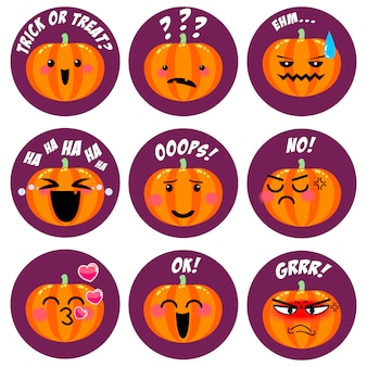 Collection de smileys halloween mignons citrouilles