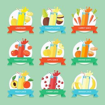 Collection de smoothies aux fruits. élément de menu pour café ou restaurant avec boisson fraîche énergique faite avec style. du jus frais pour une vie saine. shakes crus biologiques.