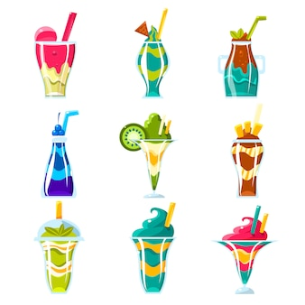 Collection de smoothies et de cocktails multicouches lumineux