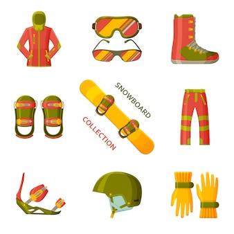Collection de snowboard. ensemble avec équipement, vêtements et chaussures. illustration.