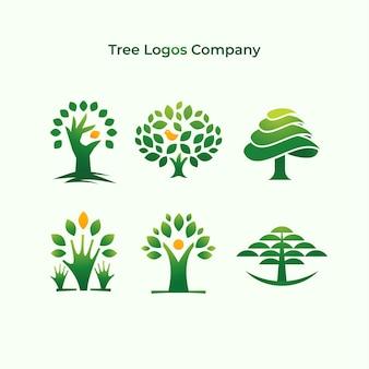 Collection de société de logo d'arbres