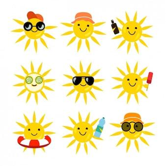 Collection de soleils drôles