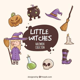 Collection de sorcières et accessoires aquarelle