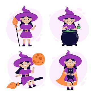 Collection de sorcières d'halloween plates dessinées à la main