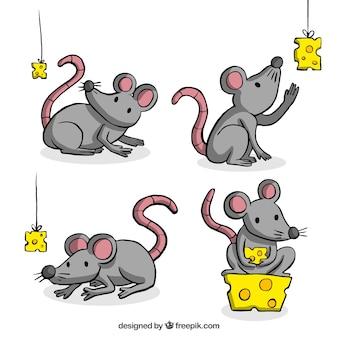Collection de souris dessinés à la main jouant avec du fromage