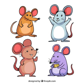Collection de souris dessinés à la main