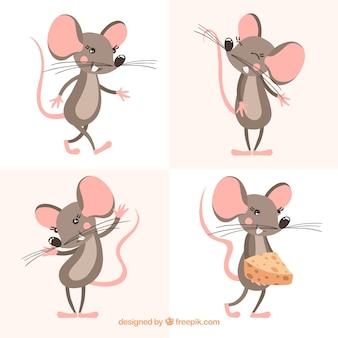 Collection de souris dessinés à la main