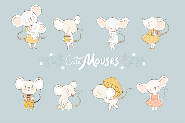 Collection de souris mignonne. animal de bande dessinée