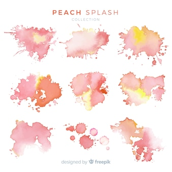 Collection splash aquarelle pêche