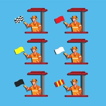 Collection de sport de course de drapeau de vague marshall