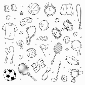 Collection de sport doodle dessinés à la main