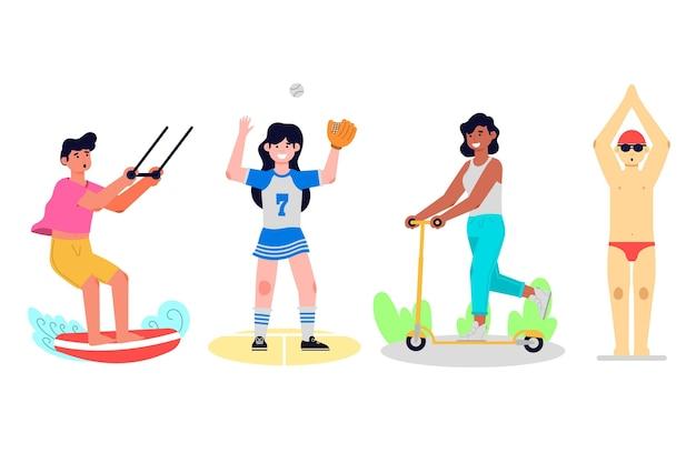 Collection de sports d'été design plat