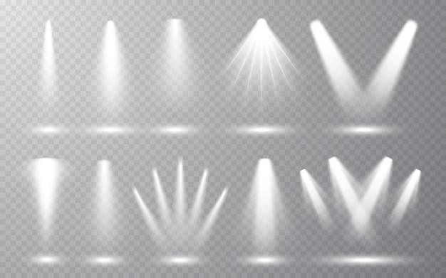 Collection spotlight sur fond transparent