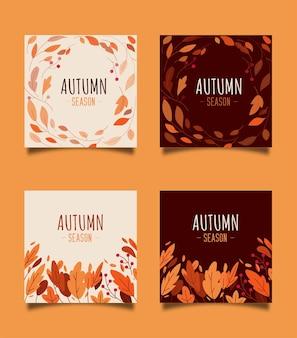 Collection square autumn background avec assortiment de belles feuilles