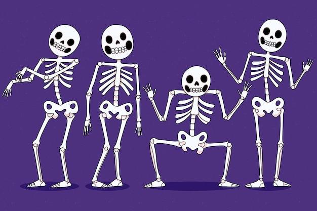 Collection de squelettes d'halloween dessinés à la main