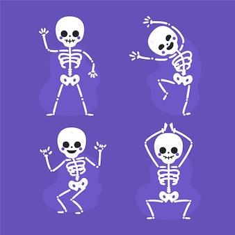 Collection de squelettes d'halloween plats dessinés à la main