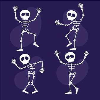 Collection de squelettes plats dessinés à la main
