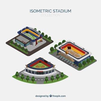 Collection de stades dans le style isométrique