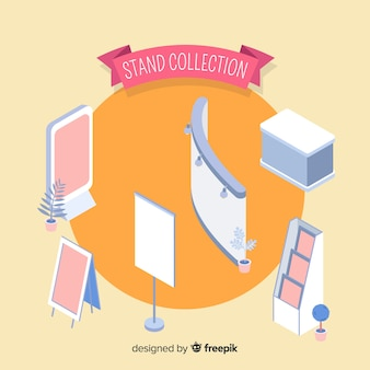 Collection de stands moderne avec vue isométrique